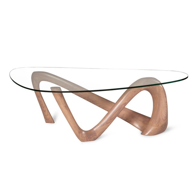 Amorph Iris Gray Oak Stained Coffee Table With Glass Top For Sale - Image 9 of 13