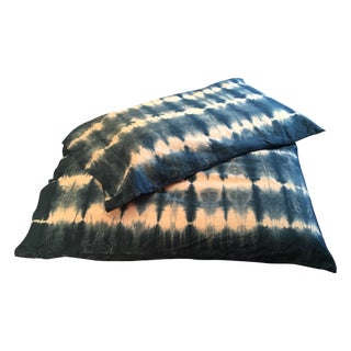 Hand-Dyed Indigo King Size Pillowcases - a Pair For Sale