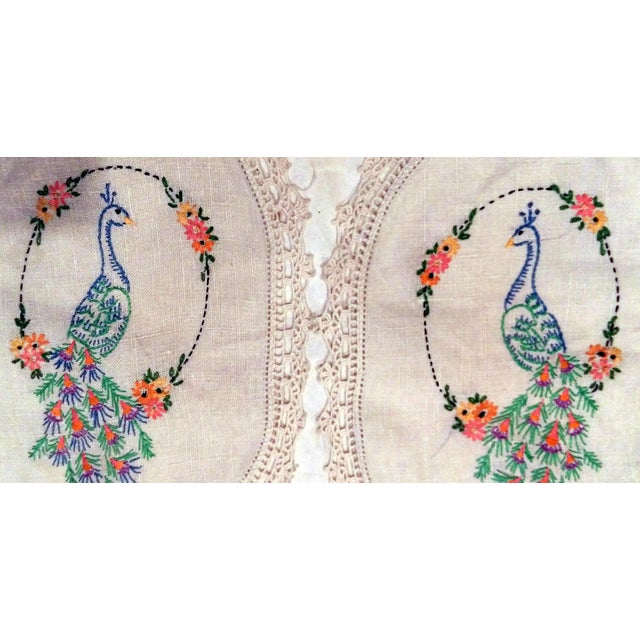 Vintage Peacock Embroidered Ecru Doilies - S/3 - Image 8 of 8