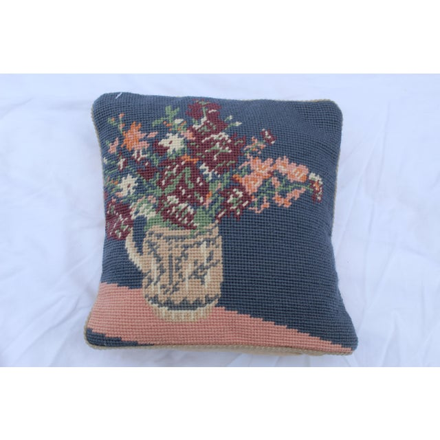 Late 20th Century 20th Century Cottage Blue and Pink Wool Needle Point Pillow For Sale - Image 5 of 6