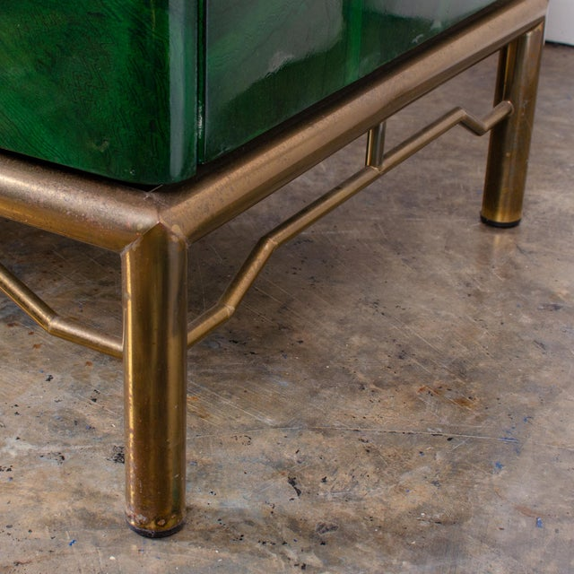 Metal 1970s Italian Malachite Lacquer Sideboard For Sale - Image 7 of 12