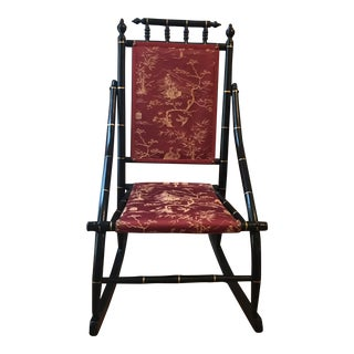 1900s Vintage Red Toile Chinoiserie Rocking Chair For Sale