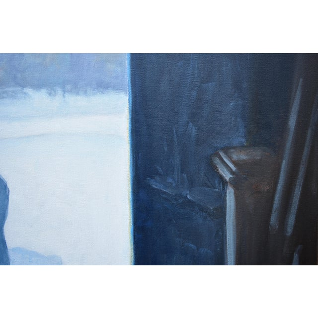 """White Stephen Remick """"Shoveling Out"""" Contemporary Painting For Sale - Image 8 of 12"""