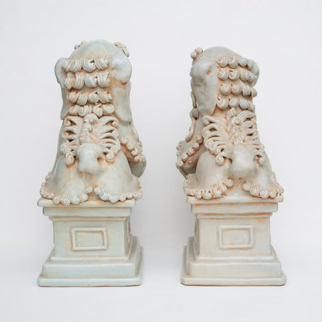 20th Century Large Chinese Celadon Foo Lions - a Pair For Sale In Dallas - Image 6 of 13