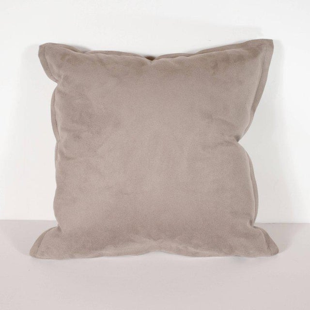 Fur Pair of Custom Modernist Horsehide and Ultra Suede Banded Pillows in Metallic Tones For Sale - Image 7 of 10