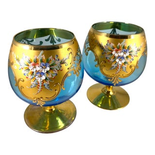 Bohemian Gold and Turquoise Hand-Painted Czech Snifters - a Pair For Sale