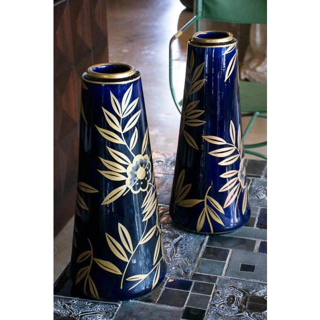 1910s Art Nouveau Cobalt Blue and Gold Vases by Gustave Asch, Pair For Sale - Image 5 of 8