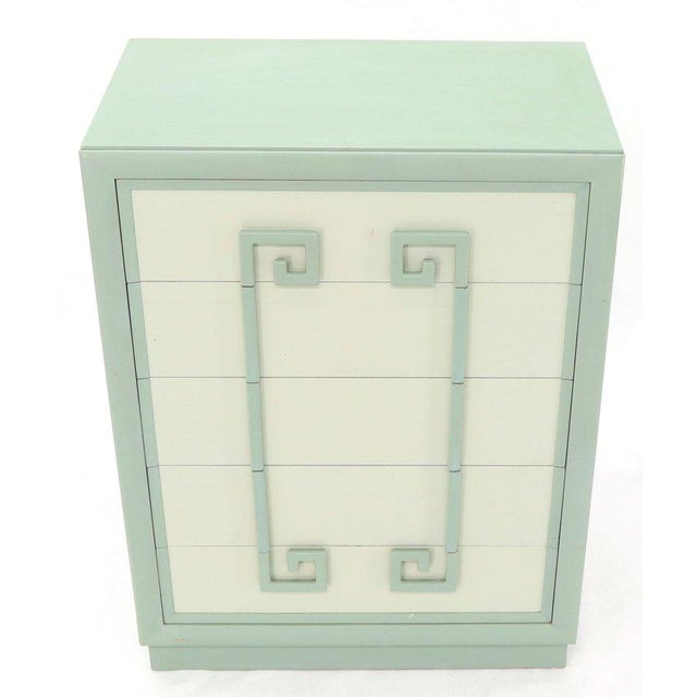 Kittinger Mandarin Chest Dresser Blue and White Lacquer Five Drawers - A Pair For Sale - Image 10 of 13