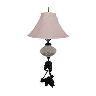Aesthetic Movement Stork/Crane Figural Black Painted Bronze Table Lamp With Shade For Sale
