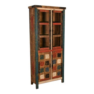 Crafters and Weavers La Boca Carved China Cabinet For Sale