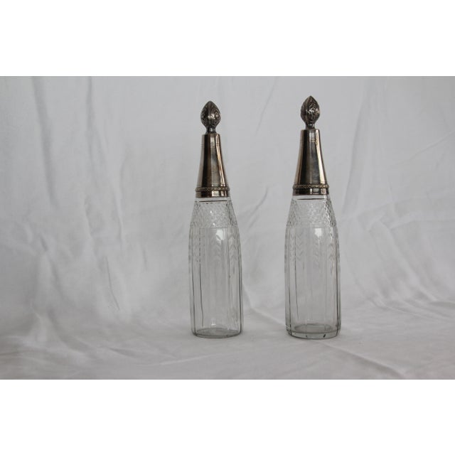 Art Deco Antique French Paul Ferrante Crystal and Silver Cruets - Set of 2 For Sale - Image 3 of 3