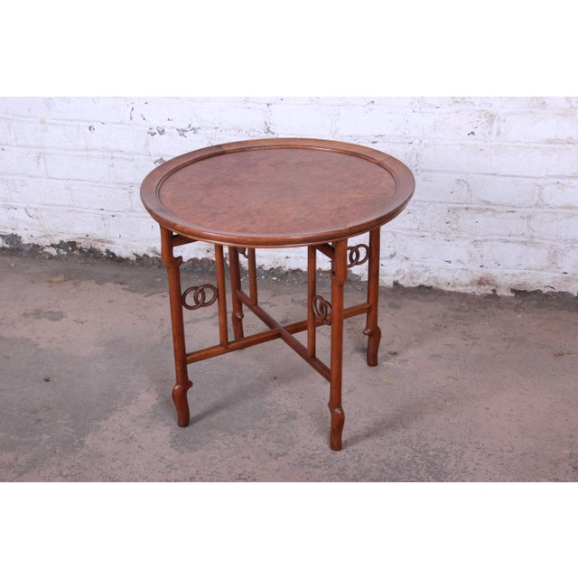 Michael Taylor for Baker Far East Collection Walnut and Burl Wood Occasional Table For Sale - Image 11 of 11