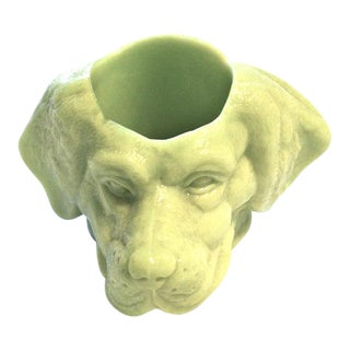 Chartreuse Glass Dog's Head Dish For Sale