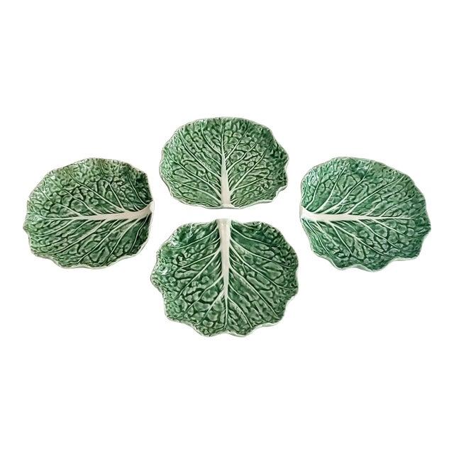 Bordello Pinheiro Green Cabbage Salad Plates - Set of 4 For Sale
