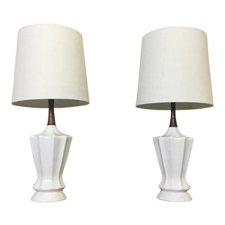 Pair of Mid Century Ceramic Table Lamps For Sale