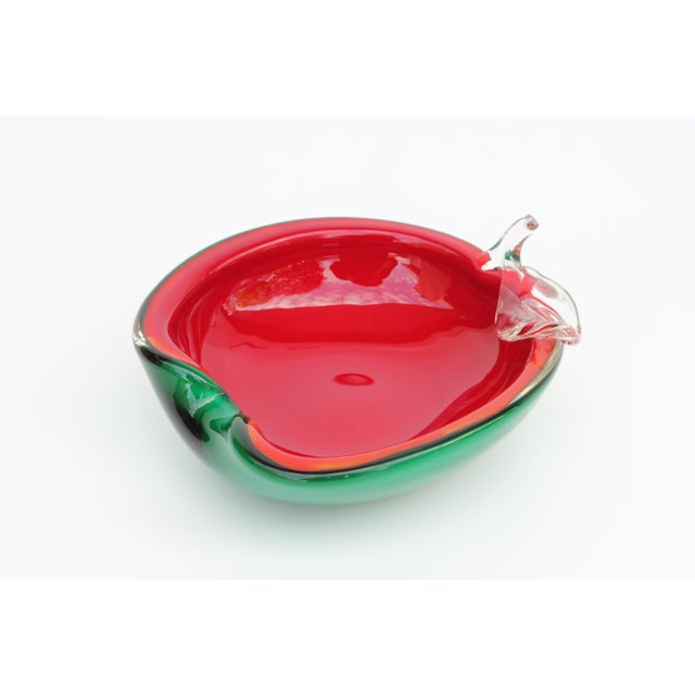 Red and Green Apple Murano Bowl - Image 3 of 5