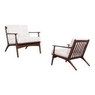 Mid Century Italian Walnut Lounge Chairs For Sale