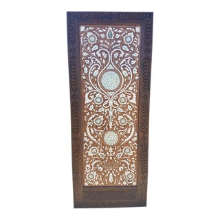 Moroccan Mother of Pearl & Walnut Wood Door For Sale