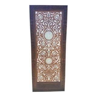 Moroccan Mother of Pearl & Walnut Wood Door For Sale
