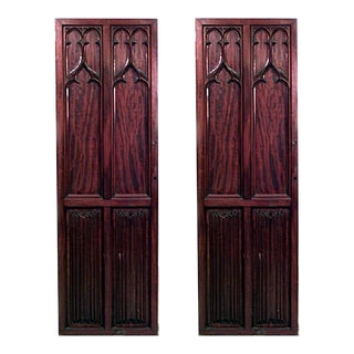 English Gothic Revival Mahogany Doors - a Pair For Sale
