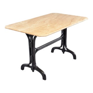 1930s Pub Table With Marble Top and Ebonized Bentwood Base For Sale