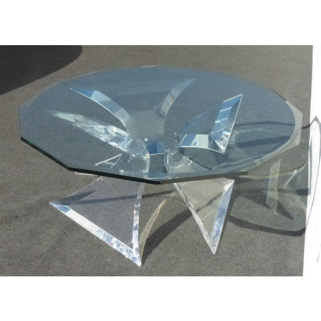 Contemporary Designer Signed Lion in Frost Triple Butterfly Lucite and Glass Coffee Table For Sale - Image 3 of 13