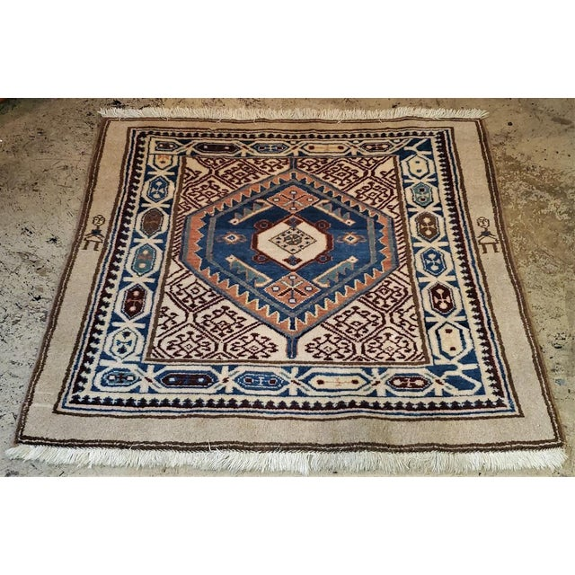 Early 20th Century Vintage Afghan Tribal Square Prayer Rug- 3′7″ × 3′8″ For Sale In Dallas - Image 6 of 11