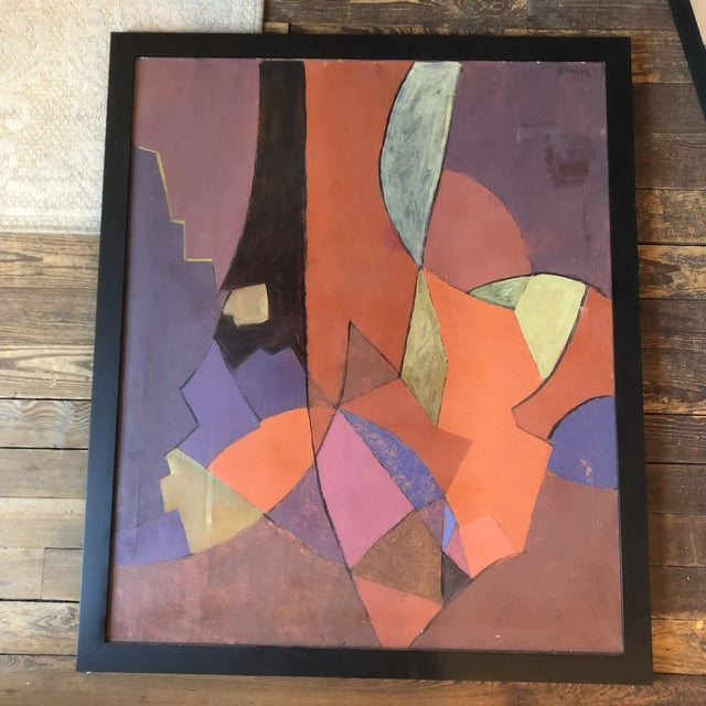 Canvas Vintage Original Geometric Abstract Painting 1950's Signed 33 X 39 For Sale - Image 7 of 7