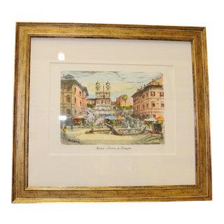 Vintage Piazza DI Spagna Print Custom Framed