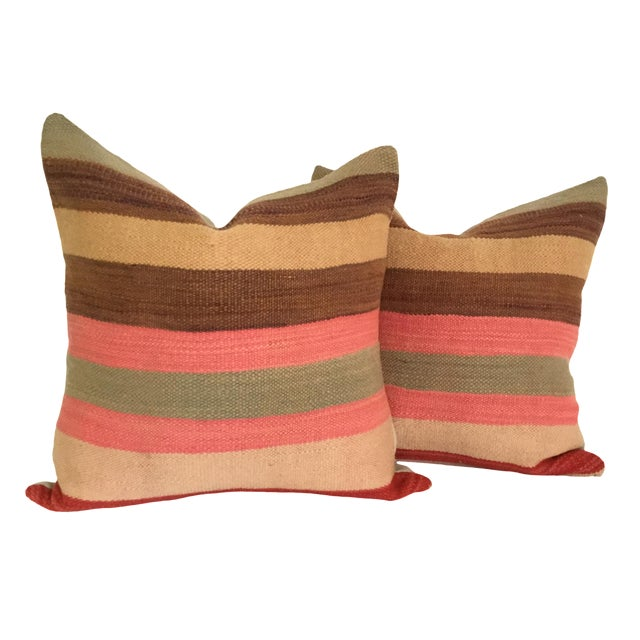 Vintage Flatweave Moroccan Pillows - A Pair - Image 1 of 4