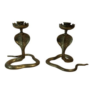 Brass King Cobra Candle Holders - a Pair