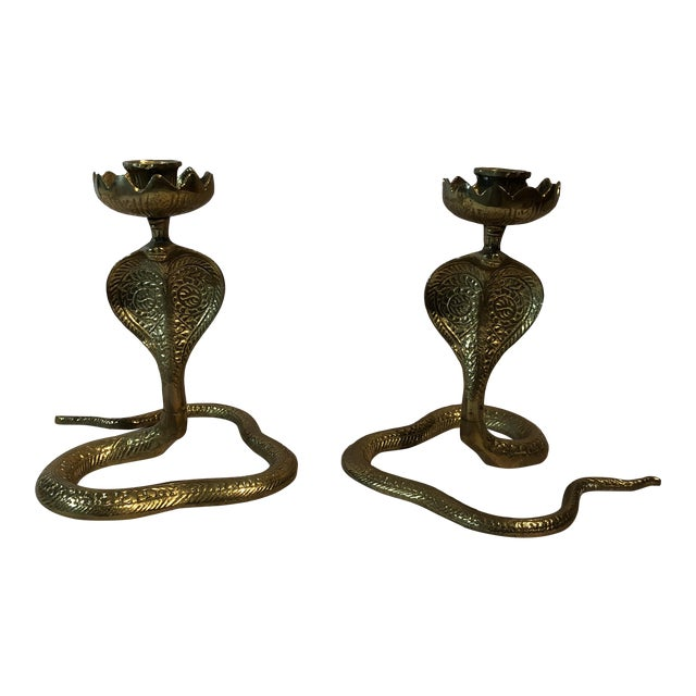 Brass King Cobra Candle Holders - a Pair For Sale