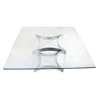 Modernist Lucite & Chrome Coffee Table by Alessandro Albrizzi