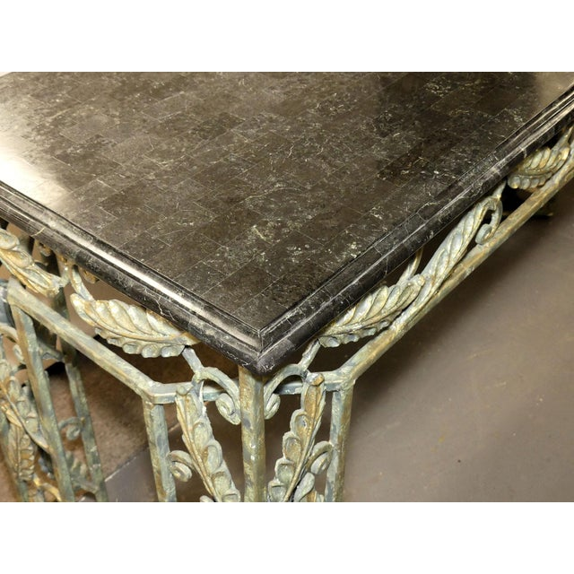 Traditional Maitland Smith Marble Top Iron Console Table For Sale - Image 9 of 13