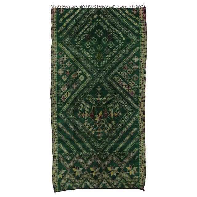 Vintage Beni Ouarain Green Moroccan Rug - 6'3 x 12'8 For Sale