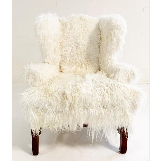 Modern Large Wingback Chair and Ottoman in Angora Goatskin For Sale - Image 3 of 9