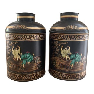 Pair of Large Handpainted Tole Chinoiserie Tea Canisters For Sale