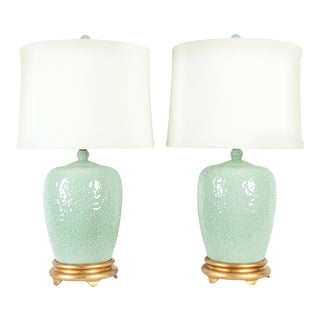 Midcentury Porcelain Lamp / Gilded Wooden Base - a Pair For Sale