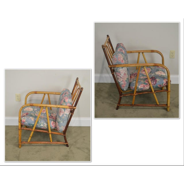*STORE ITEM #: 19046 Ward Wicker Vintage Antique Pair of Split Reed Rattan Lounge Chairs AGE / ORIGIN: Approx. 75 years,...