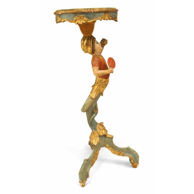 Figurative 19th-20th Century Italian Venetian Style Polychromed Pedestal Stand For Sale - Image 3 of 5