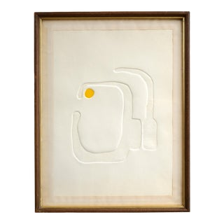 Mid 20th Century Modernist Abstract Graphic Embossed Paper Art, Framed