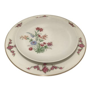1940s Vintage Pink Floral Bavarian China Table Settings - 12 Pieces For Sale