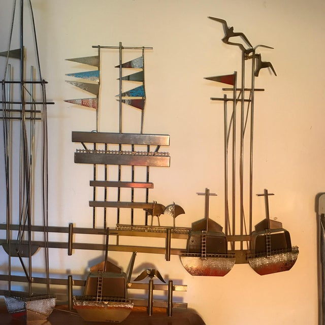 Curtis Jere Brutalist Mixed Metal Sailboats Marina Wall Sculpture For Sale - Image 5 of 6