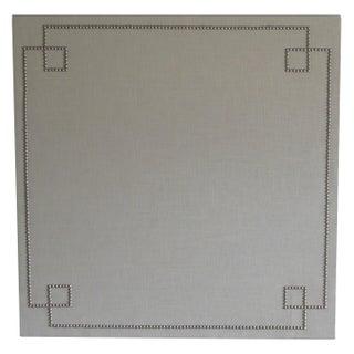 Linen and Nailhead Greek Key Corkboard For Sale