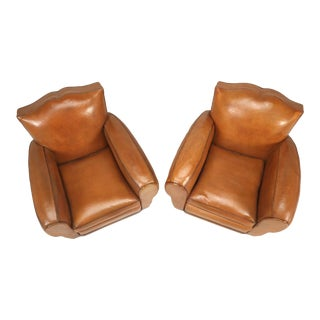 French Art Deco, Original Moustache Leather Club Chairs - a pair For Sale
