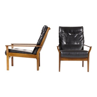 1960s Danish Modern Cintique Mahogany Highback Lounge Chairs - a Pair For Sale