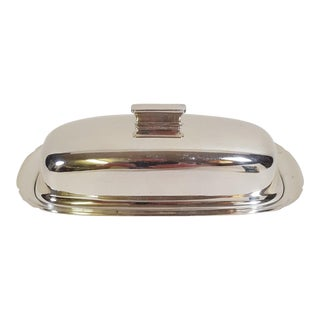 1940s Mid-Century Modern Reed and Barton Silver Plate Butter Dish For Sale