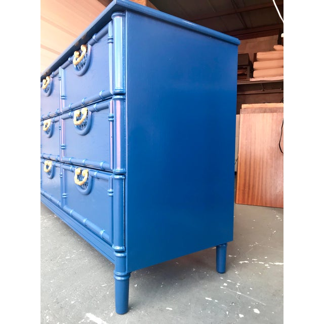 1980s Faux Bamboo Newly Lacquered Blue Dresser For Sale - Image 5 of 12