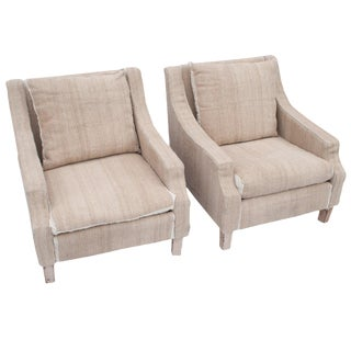 Pair of Napoleon III Club Chairs For Sale