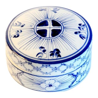 Traditional Hand-Painted Lidded Trinket Box For Sale